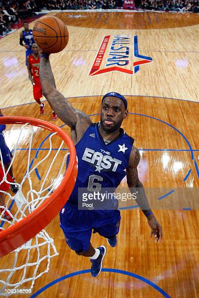 LeBron James of the Miami Heat and the Eastern Conference goes up for a dunk in the 2011 NBA AllStar Game at Staples Center on February 20 2011 in...