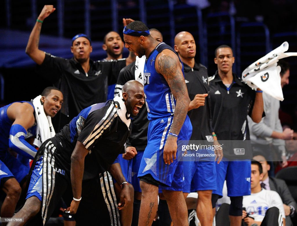 LeBron James #6 of the Miami Heat and the Eastern Conference reacts with the Eastern Conference bench in the 2011 NBA All-Star Game at Staples Center on February 20, 2011 in Los Angeles, California.