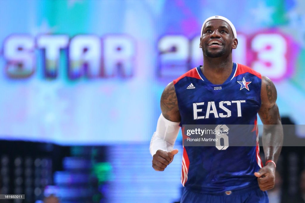 LeBron James #6 of the Miami Heat and the Eastern Conference smiles in the first half during the 2013 NBA All-Star game at the Toyota Center on February 17, 2013 in Houston, Texas.