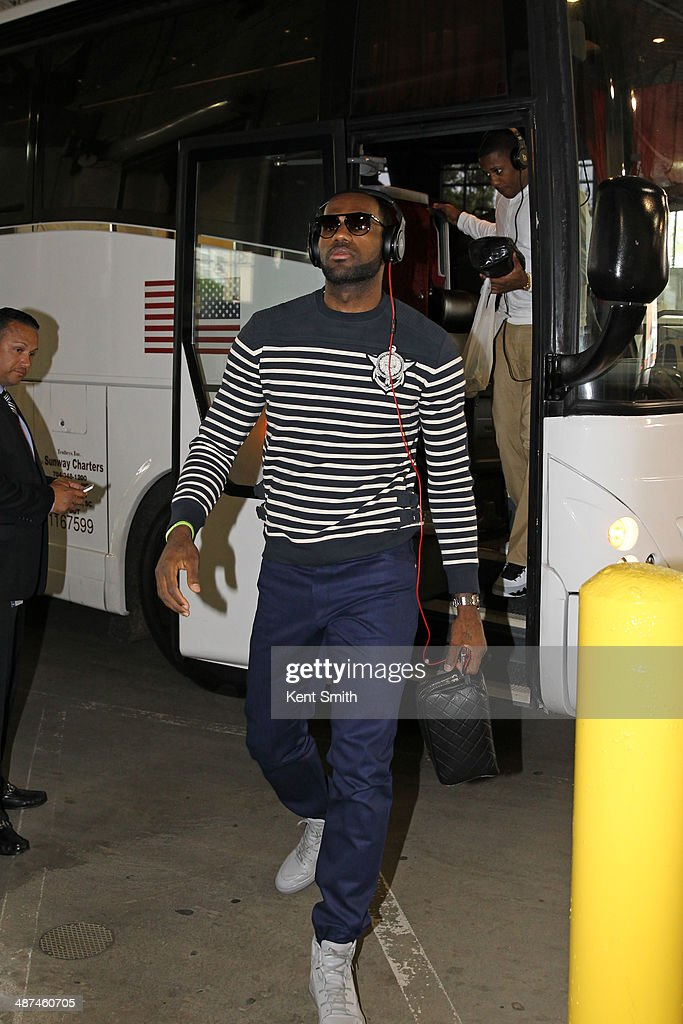 LeBron James #6 of the Miami Heat arrives before the game Game Four against the Charlotte Bobcats at the Time Warner Cable Arena on April 28, 2014 in Charlotte, North Carolina.