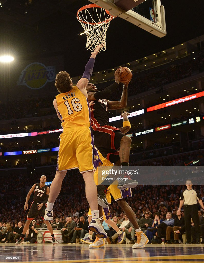 Lebron James #6 of the Miami Heat attempts a layup against Pau Gasol #16 of the Los Angeles Lakers at Staples Center on January 17, 2013 in Los Angeles, California.