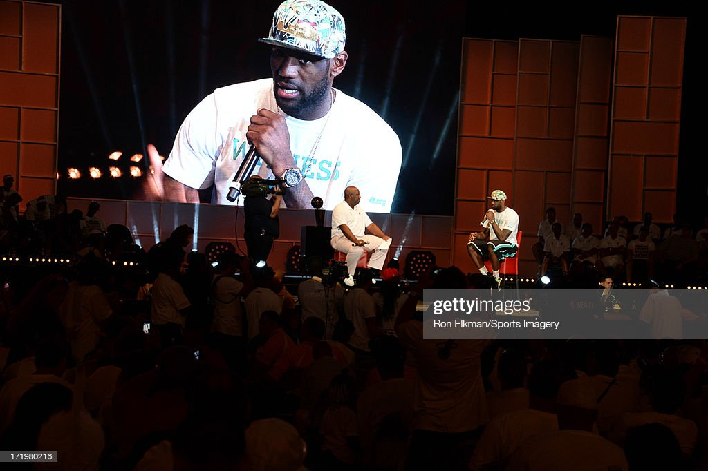 LeBron James of the Miami Heat attends the NBA Championship victory rally at the AmericanAirlines Arena on June 24, 2013 in Miami, Florida. The Miami Heat defeated the San Antonio Spurs in the NBA Finals.