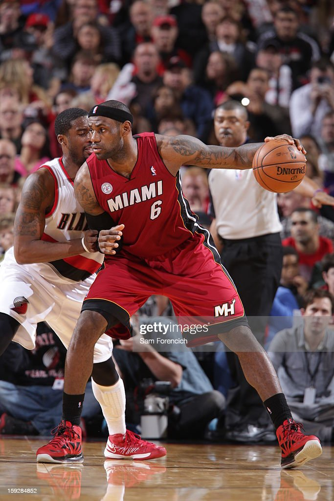 LeBron James #6 of the Miami Heat backs up to the basket against the Portland Trail Blazers on January 10, 2013 at the Rose Garden Arena in Portland, Oregon.