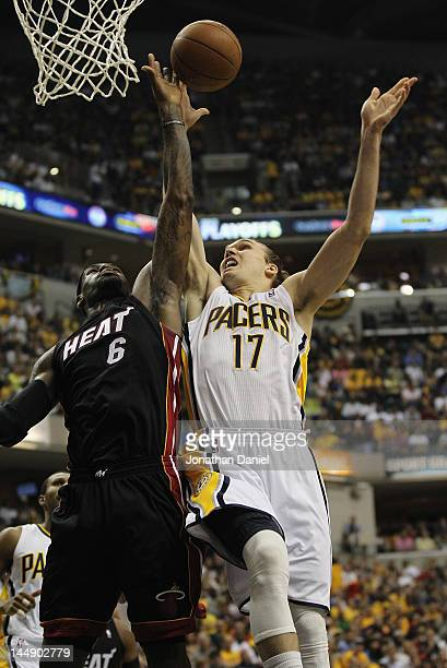 LeBron James of the Miami Heat blocks a shot by Lou Amundson of the Indiana Pacers in Game Four of the Eastern Conference Semifinals in the 2012 NBA...