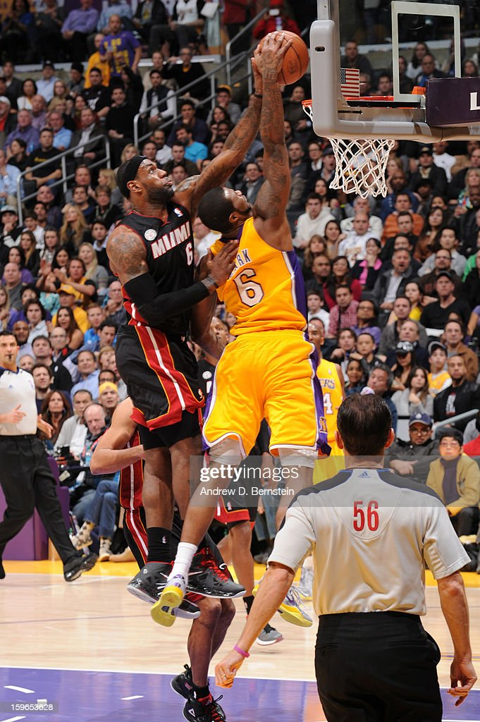 LeBron James #6 of the Miami Heat blocks the shot of Earl Clark #6 of the Los Angeles Lakers at Staples Center on January 15, 2013 in Los Angeles, California.