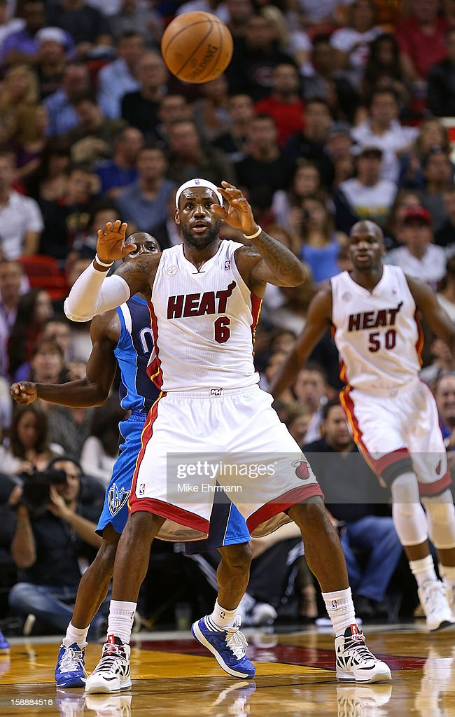 LeBron James #6 of the Miami Heat catches a pass during a game against the Dallas Mavericks at American Airlines Arena on January 2, 2013 in Miami, Florida.