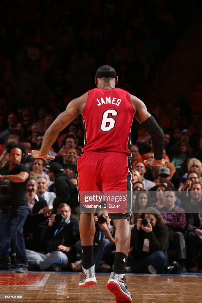 LeBron James #6 of the Miami Heat celebrates a shot against the New York Knicks on March 3, 2013 at Madison Square Garden in New York City.
