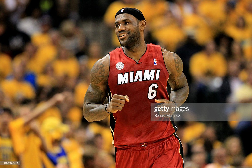 <a gi-track='captionPersonalityLinkClicked' href=/galleries/search?phrase=LeBron+James&family=editorial&specificpeople=201474 ng-click='$event.stopPropagation()'>LeBron James</a> #6 of the Miami Heat celebrates after a dunk against the Indiana Pacers in Game Six of the Eastern Conference Finals during the 2013 NBA Playoffs at Bankers Life Fieldhouse on June 1, 2013 in Indianapolis, Indiana.