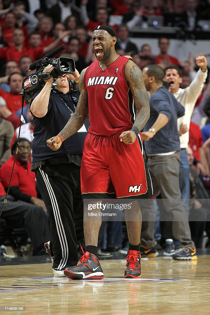 LeBron James #6 of the Miami Heat celebrates after the Heat won 83-80 against the Chicago Bulls in Game Five of the Eastern Conference Finals during the 2011 NBA Playoffs on May 26, 2011 at the United Center in Chicago, Illinois.