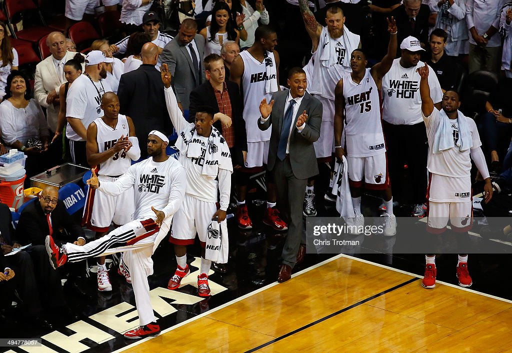 <a gi-track='captionPersonalityLinkClicked' href=/galleries/search?phrase=LeBron+James&family=editorial&specificpeople=201474 ng-click='$event.stopPropagation()'>LeBron James</a> #6 of the Miami Heat celebrates against the Indiana Pacers during Game Six of the Eastern Conference Finals of the 2014 NBA Playoffs at American Airlines Arena on May 30, 2014 in Miami, Florida.