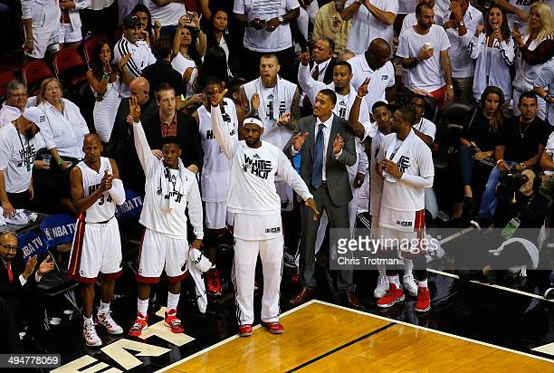 LeBron James of the Miami Heat celebrates against the Indiana Pacers during Game Six of the Eastern Conference Finals of the 2014 NBA Playoffs at...