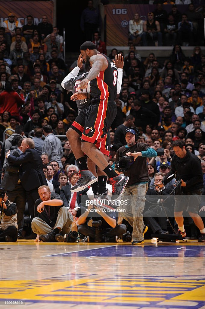 LeBron James #6 of the Miami Heat celebrates against the Los Angeles Lakers at Staples Center on January 15, 2013 in Los Angeles, California.
