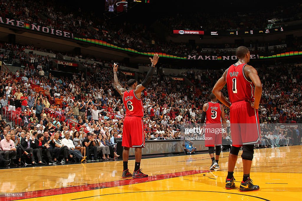 <a gi-track='captionPersonalityLinkClicked' href=/galleries/search?phrase=LeBron+James&family=editorial&specificpeople=201474 ng-click='$event.stopPropagation()'>LeBron James</a> #6 of the Miami Heat celebrates during the game against the Sacramento Kings on February 26, 2013 at American Airlines Arena in Miami, Florida.