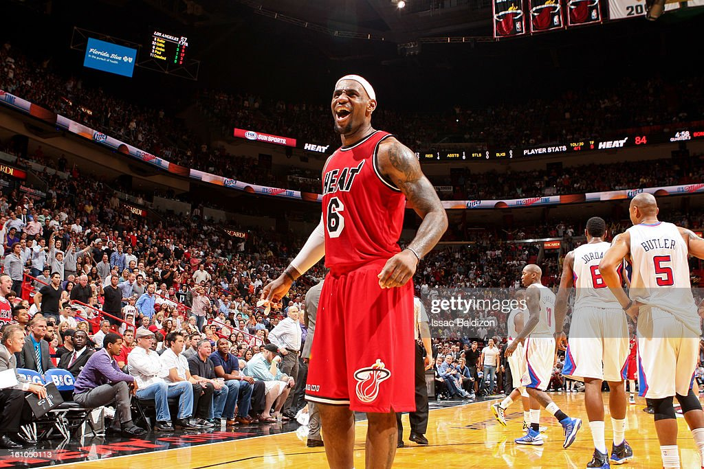 <a gi-track='captionPersonalityLinkClicked' href=/galleries/search?phrase=LeBron+James&family=editorial&specificpeople=201474 ng-click='$event.stopPropagation()'>LeBron James</a> #6 of the Miami Heat celebrates while playing the Los Angeles Clippers on February 8, 2013 at American Airlines Arena in Miami, Florida.