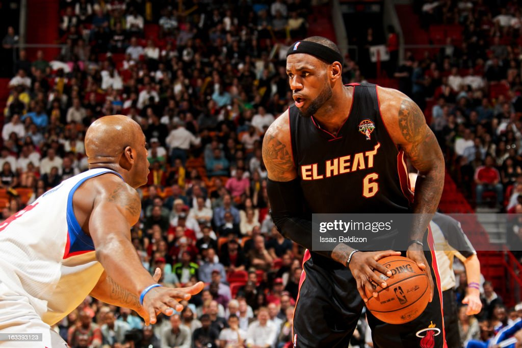 <a gi-track='captionPersonalityLinkClicked' href=/galleries/search?phrase=LeBron+James&family=editorial&specificpeople=201474 ng-click='$event.stopPropagation()'>LeBron James</a> #6 of the Miami Heat controls the ball against the Philadelphia 76ers on March 8, 2013 at American Airlines Arena in Miami, Florida.