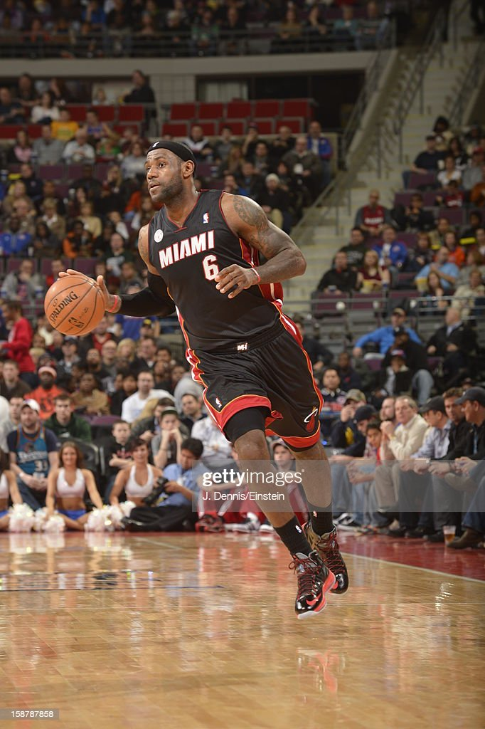 LeBron James #6 of the Miami Heat dribbles the ball up the floor against the Detroit Pistons during the game on December 28, 2012 at The Palace of Auburn Hills in Auburn Hills, Michigan.