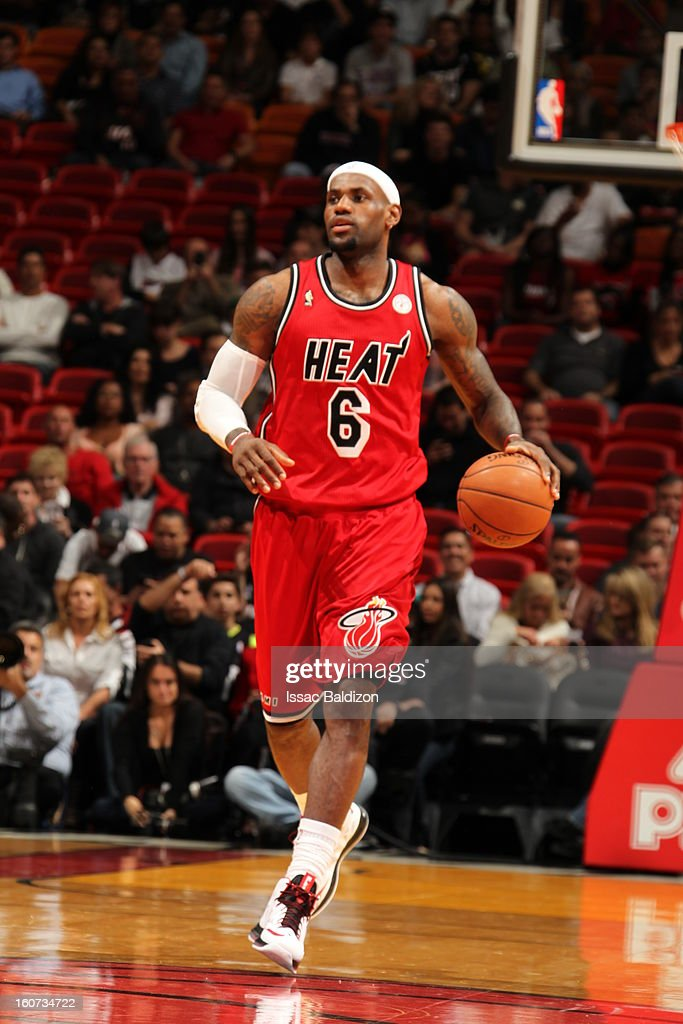 LeBron James #6 of the Miami Heat dribbles the ball up the floor against the Charlotte Bobcats during a game on February 4, 2013 at American Airlines Arena in Miami, Florida.