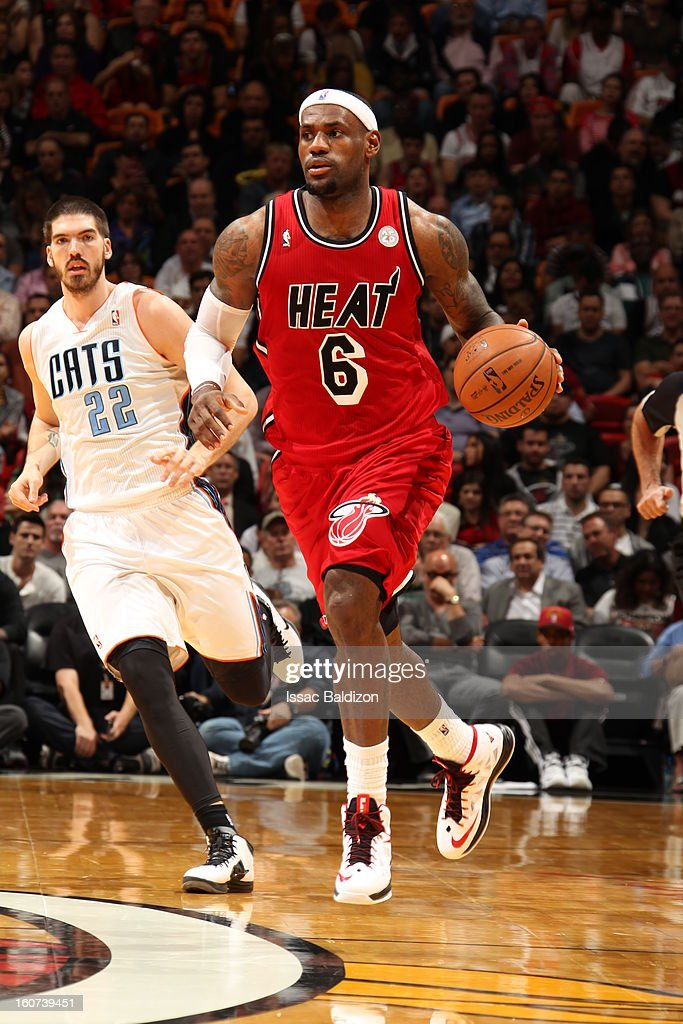 LeBron James #6 of the Miami Heat dribbles up the court against the Charlotte Bobcats during a game on February 4, 2013 at American Airlines Arena in Miami, Florida.