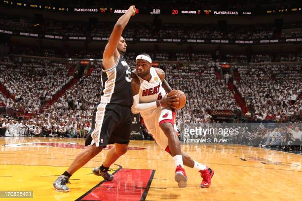 LeBron James of the Miami Heat drives against Boris Diaw of the San Antonio Spurs during Game Six of the 2013 NBA Finals on June 18 2013 at American...