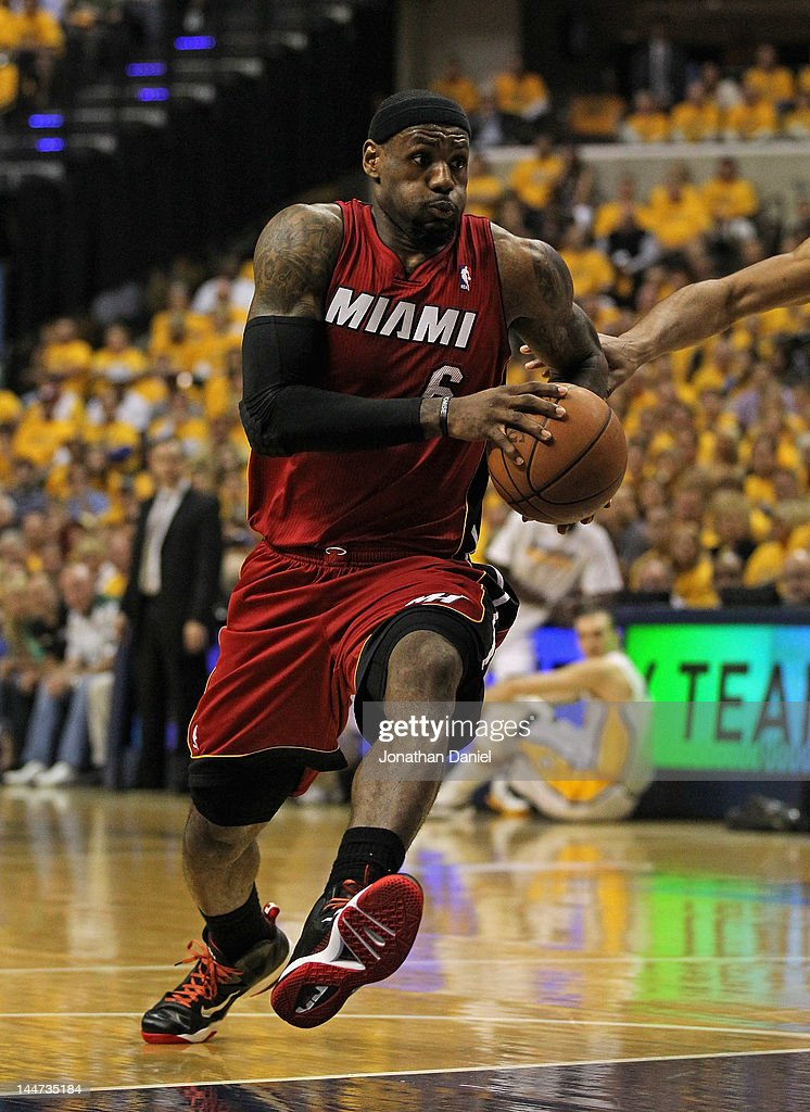 <a gi-track='captionPersonalityLinkClicked' href=/galleries/search?phrase=LeBron+James&family=editorial&specificpeople=201474 ng-click='$event.stopPropagation()'>LeBron James</a> #6 of the Miami Heat drives against the Indiana Pacers in Game Three of the Eastern Conference Semifinals in the 2012 NBA Playoffs at Bankers Life Fieldhouse on May 17, 2012 in Indianapolis, Indiana. The Pacers defeated the Heat 94-75.