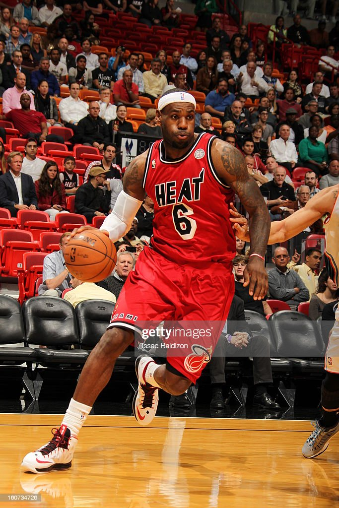 LeBron James #6 of the Miami Heat drives to the baseline against the Charlotte Bobcats during a game on February 4, 2013 at American Airlines Arena in Miami, Florida.