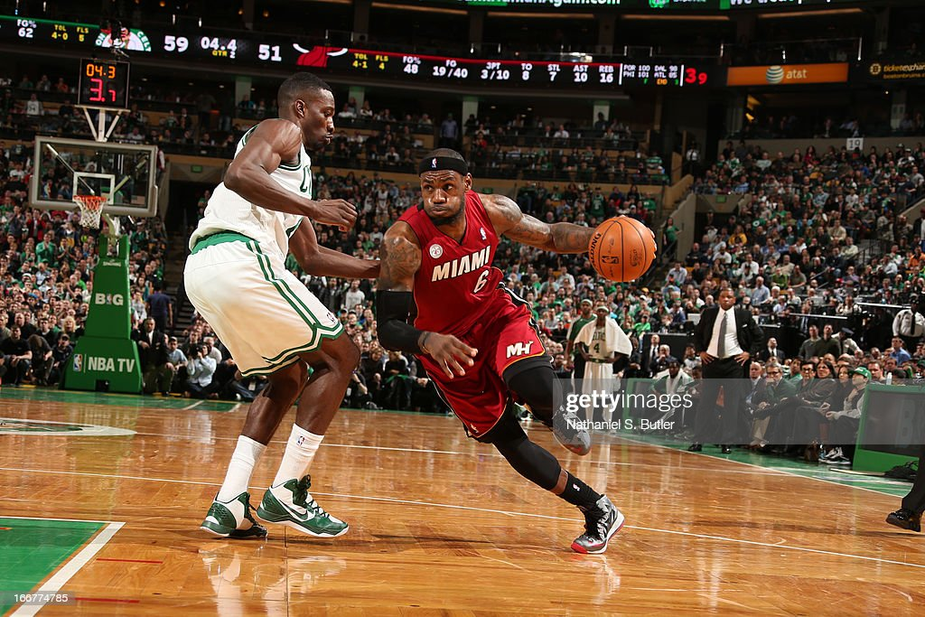<a gi-track='captionPersonalityLinkClicked' href=/galleries/search?phrase=LeBron+James&family=editorial&specificpeople=201474 ng-click='$event.stopPropagation()'>LeBron James</a> #6 of the Miami Heat drives to the basket against the Boston Celtics during a game on March 18, 2013 at TD Garden in Boston, Massachusetts.