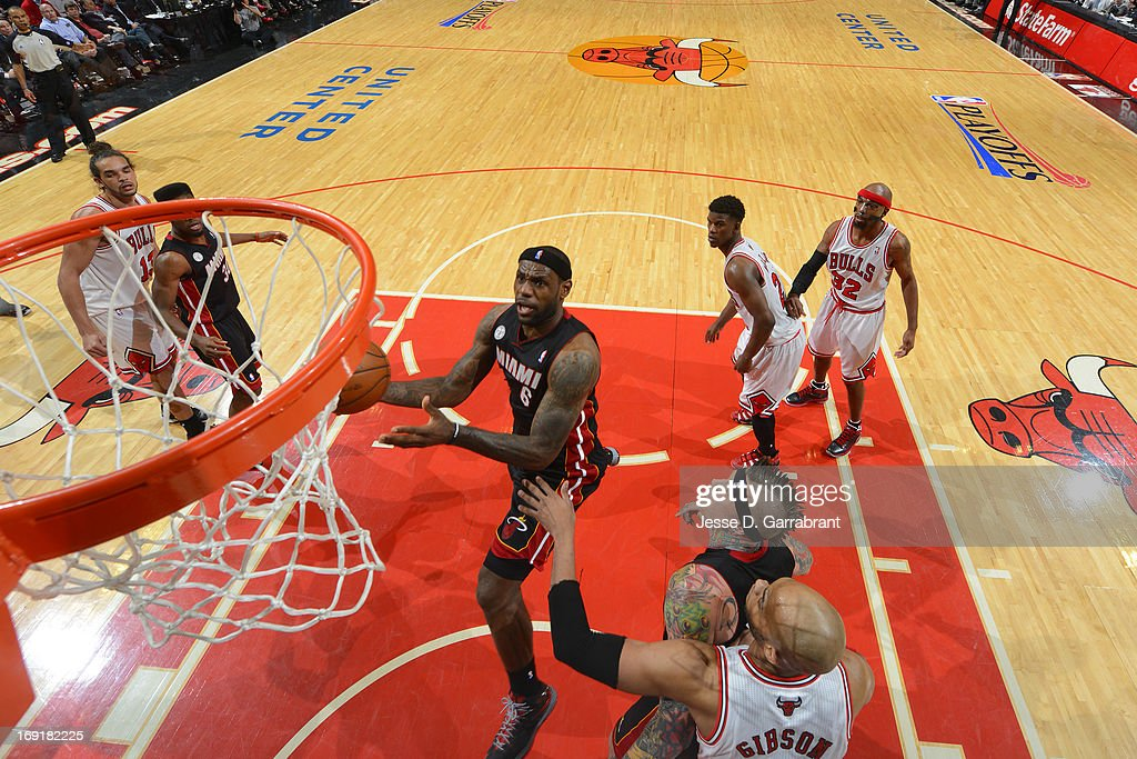 <a gi-track='captionPersonalityLinkClicked' href=/galleries/search?phrase=LeBron+James&family=editorial&specificpeople=201474 ng-click='$event.stopPropagation()'>LeBron James</a> #6 of the Miami Heat drives to the basket against the Chicago Bulls in Game Four of the Eastern Conference Semifinals during the 2013 NBA Playoffs on May 13, 2013 at United Center in Chicago, Illinois.