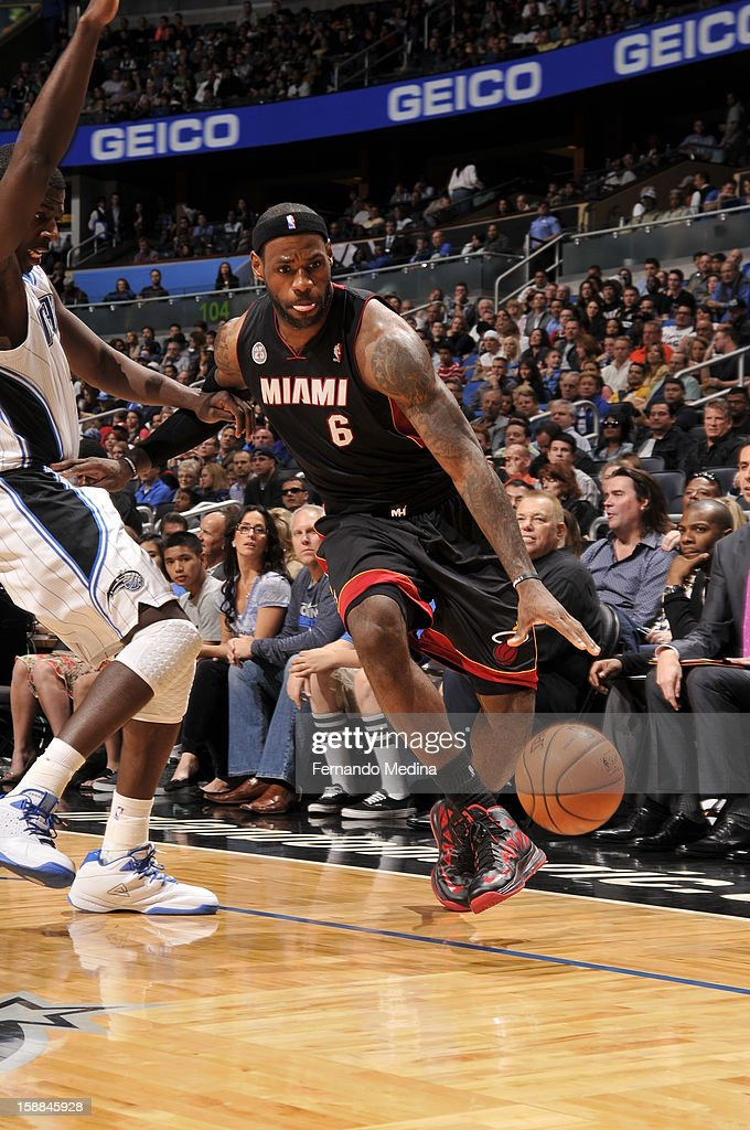 LeBron James #6 of the Miami Heat drives to the basket against the Orlando Magic during the game on December 31, 2012 at Amway Center in Orlando, Florida.