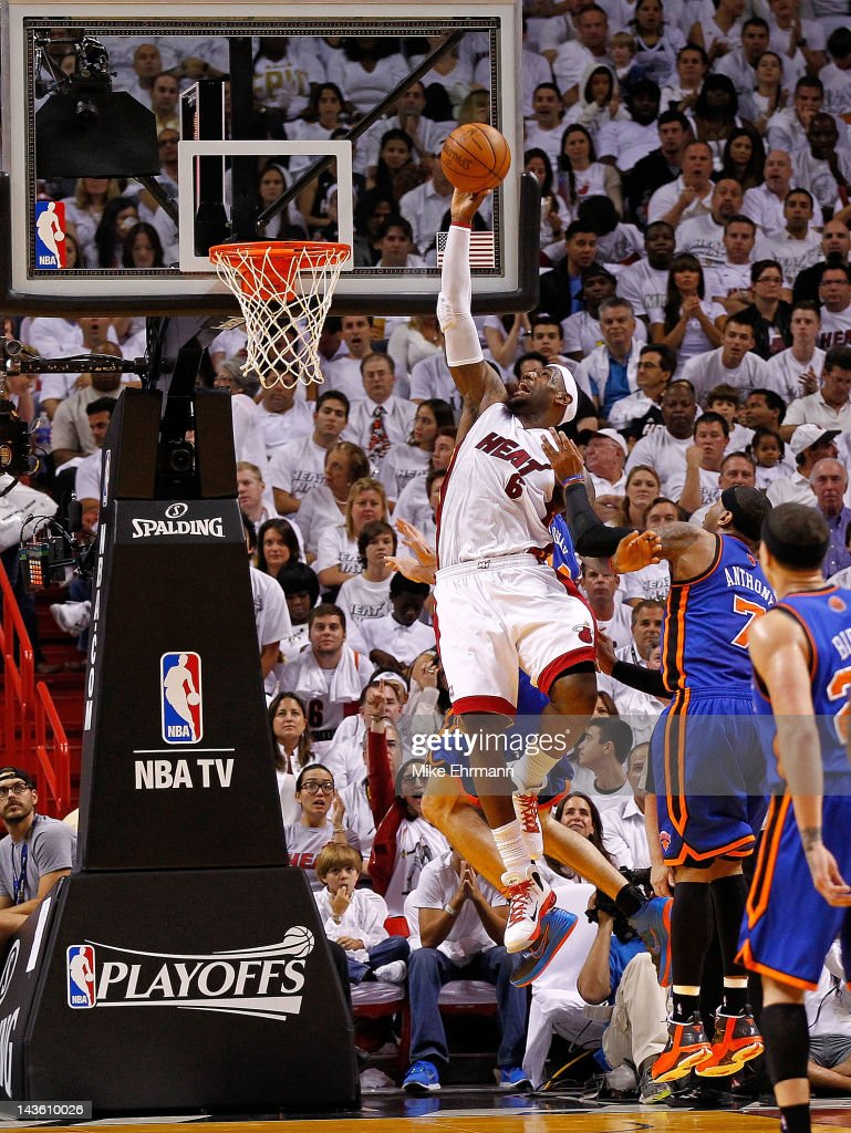 LeBron James #6 of the Miami Heat drives to the basket during Game Two of the Eastern Conference Quarterfinals in the 2012 NBA Playoffs against the New York Knicks at American Airlines Arena on April 30, 2012 in Miami, Florida.