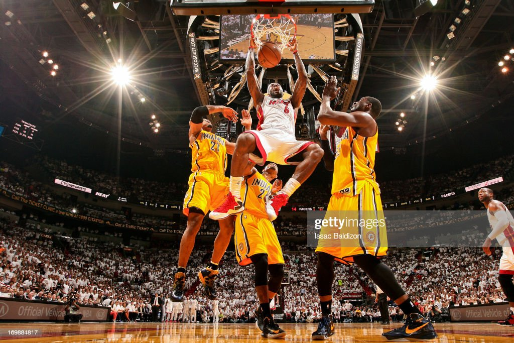 <a gi-track='captionPersonalityLinkClicked' href=/galleries/search?phrase=LeBron+James&family=editorial&specificpeople=201474 ng-click='$event.stopPropagation()'>LeBron James</a> #6 of the Miami Heat dunks against David West #21, Paul George #24 and <a gi-track='captionPersonalityLinkClicked' href=/galleries/search?phrase=Roy+Hibbert&family=editorial&specificpeople=725128 ng-click='$event.stopPropagation()'>Roy Hibbert</a> #55 of the Indiana Pacers in Game Seven of the Eastern Conference Finals during the 2013 NBA Playoffs on June 3, 2013 at American Airlines Arena in Miami, Florida.
