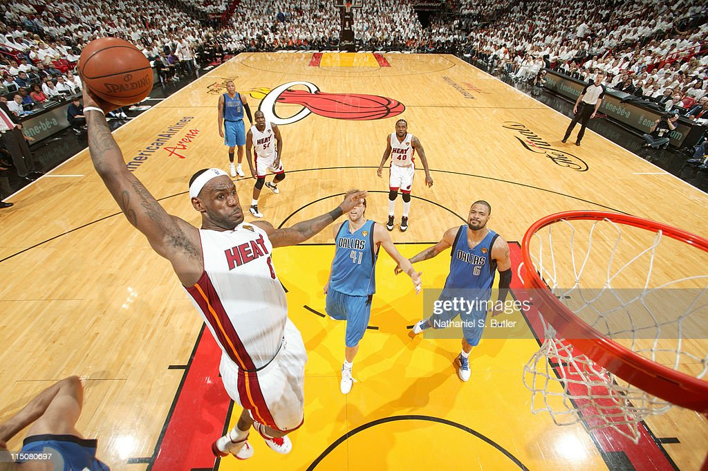 <a gi-track='captionPersonalityLinkClicked' href=/galleries/search?phrase=LeBron+James&family=editorial&specificpeople=201474 ng-click='$event.stopPropagation()'>LeBron James</a> #6 of the Miami Heat dunks against the Dallas Mavericks during Game Two of the 2011 NBA Finals on June 02, 2011 at the American Airlines Arena in Miami, Florida.