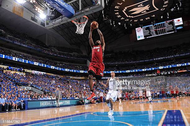 LeBron James of the Miami Heat dunks against the Dallas Mavericks during Game Four of the 2011 NBA Finals on June 7 2011 at the American Airlines...