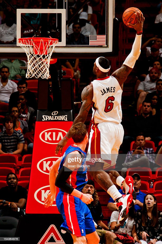 <a gi-track='captionPersonalityLinkClicked' href=/galleries/search?phrase=LeBron+James&family=editorial&specificpeople=201474 ng-click='$event.stopPropagation()'>LeBron James</a> #6 of the Miami Heat dunks against the Detroit Pistons during a pre-season game on October 18, 2012 at American Airlines Arena in Miami, Florida.