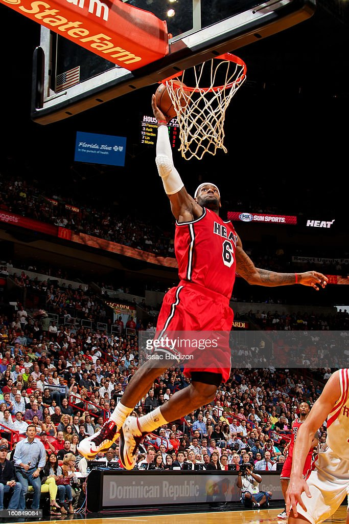 LeBron James #6 of the Miami Heat dunks against the Houston Rockets on February 6, 2013 at American Airlines Arena in Miami, Florida.