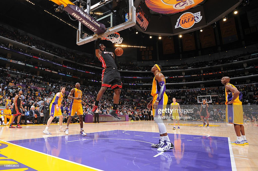 LeBron James #6 of the Miami Heat dunks against the Los Angeles Lakers at Staples Center on January 15, 2013 in Los Angeles, California.