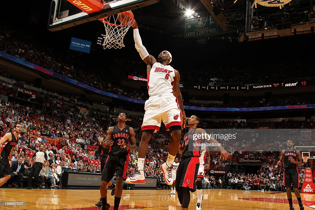 LeBron James #6 of the Miami Heat dunks against the Toronto Raptors on January 23, 2013 at American Airlines Arena in Miami, Florida.