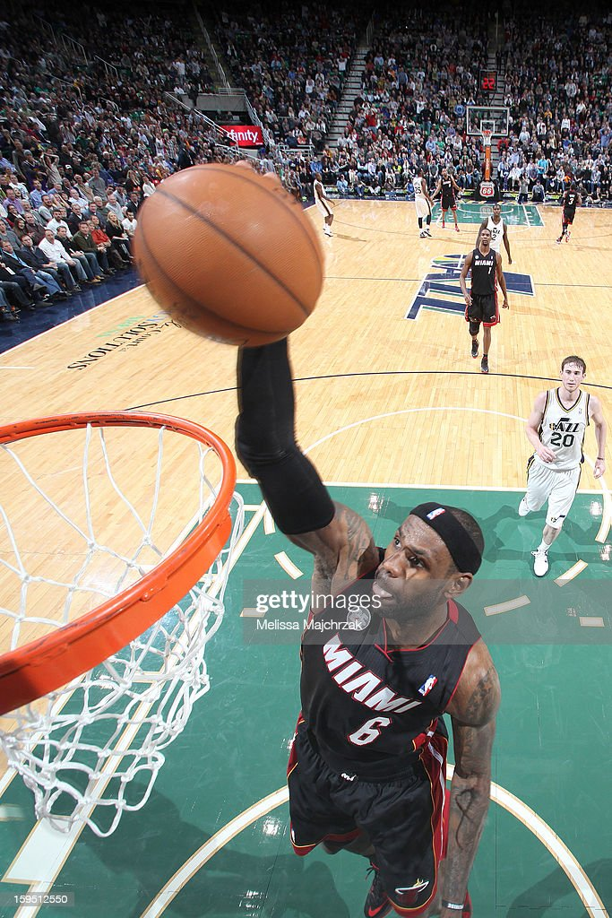 LeBron James #6 of the Miami Heat dunks against the Utah Jazz at Energy Solutions Arena on January 14, 2013 in Salt Lake City, Utah.
