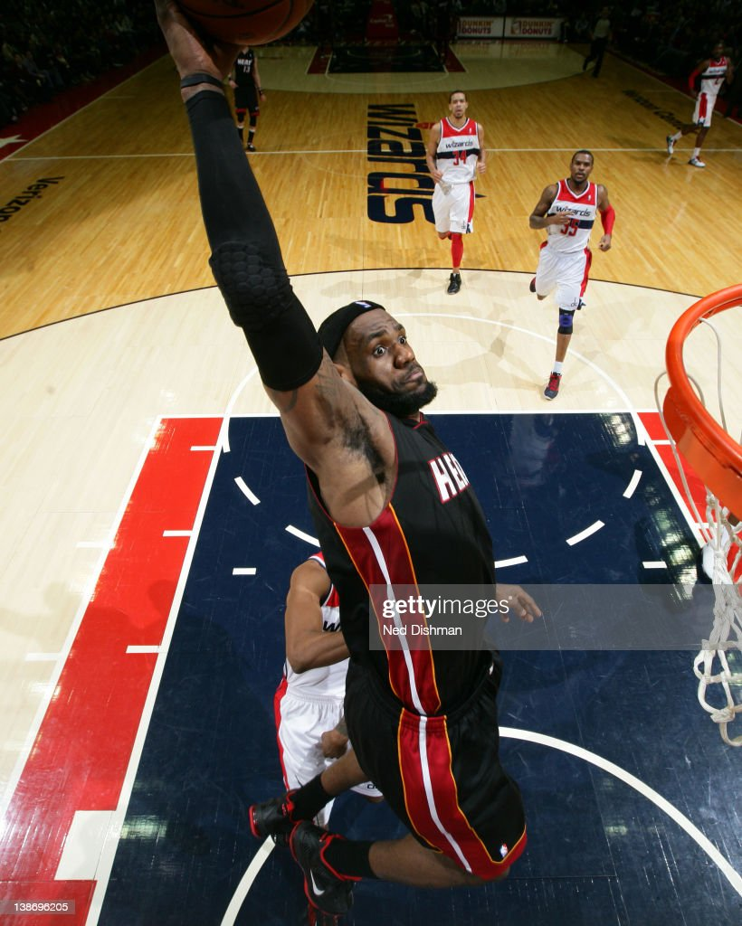 <a gi-track='captionPersonalityLinkClicked' href=/galleries/search?phrase=LeBron+James&family=editorial&specificpeople=201474 ng-click='$event.stopPropagation()'>LeBron James</a> #6 of the Miami Heat dunks against the Washington Wizards during the game at the Verizon Center on February 10, 2012 in Washington, DC.