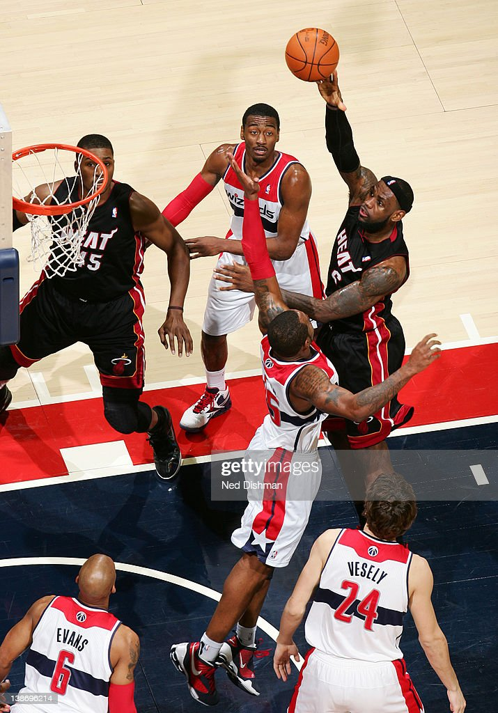 <a gi-track='captionPersonalityLinkClicked' href=/galleries/search?phrase=LeBron+James&family=editorial&specificpeople=201474 ng-click='$event.stopPropagation()'>LeBron James</a> #6 of the Miami Heat dunks against Trevor Booker #35 of the Washington Wizards during the game at the Verizon Center on February 10, 2012 in Washington, DC.