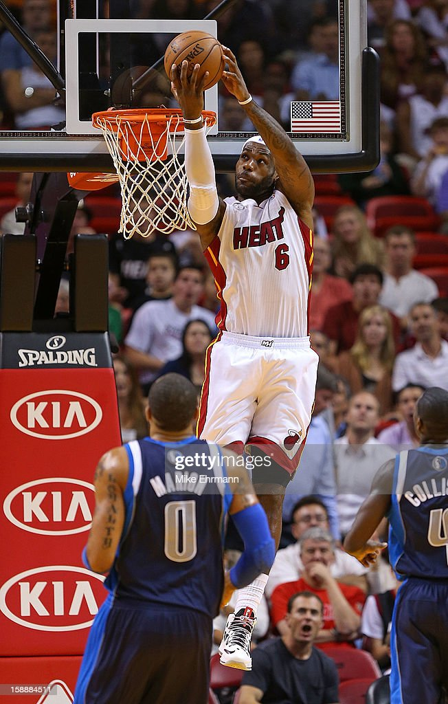 LeBron James #6 of the Miami Heat dunks during a game against the Dallas Mavericks at American Airlines Arena on January 2, 2013 in Miami, Florida.