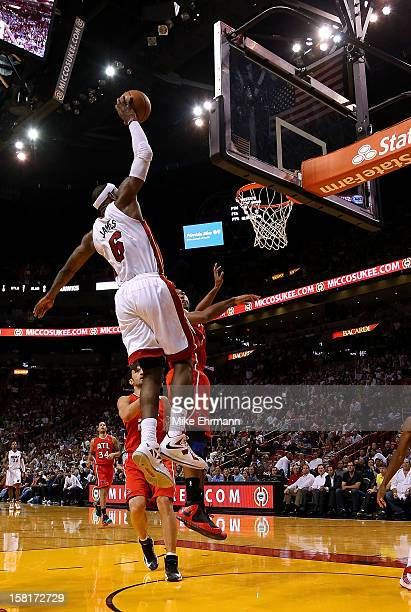 LeBron James of the Miami Heat dunks during a game against the Atlanta Hawks at American Airlines Arena on December 10 2012 in Miami Florida