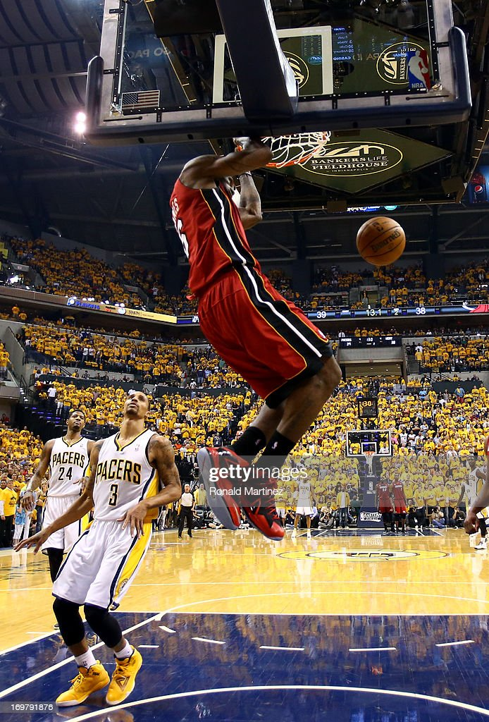<a gi-track='captionPersonalityLinkClicked' href=/galleries/search?phrase=LeBron+James&family=editorial&specificpeople=201474 ng-click='$event.stopPropagation()'>LeBron James</a> #6 of the Miami Heat dunks the ball against George Hill #3 of the Indiana Pacers in Game Six of the Eastern Conference Finals during the 2013 NBA Playoffs at Bankers Life Fieldhouse on June 1, 2013 in Indianapolis, Indiana.