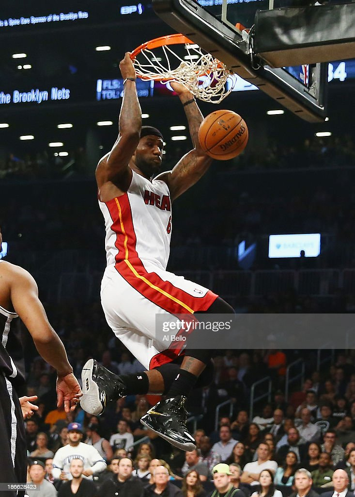 <a gi-track='captionPersonalityLinkClicked' href=/galleries/search?phrase=LeBron+James&family=editorial&specificpeople=201474 ng-click='$event.stopPropagation()'>LeBron James</a> #6 of the Miami Heat dunks the ball against the Brooklyn Nets during their game at the Barclays Center on November 1, 2013 in the Brooklyn borough of New York City.