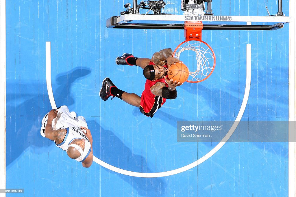 <a gi-track='captionPersonalityLinkClicked' href=/galleries/search?phrase=LeBron+James&family=editorial&specificpeople=201474 ng-click='$event.stopPropagation()'>LeBron James</a> #6 of the Miami Heat dunks the ball against the Los Angeles Clippers on March 4, 2013 at Target Center in Minneapolis, Minnesota.