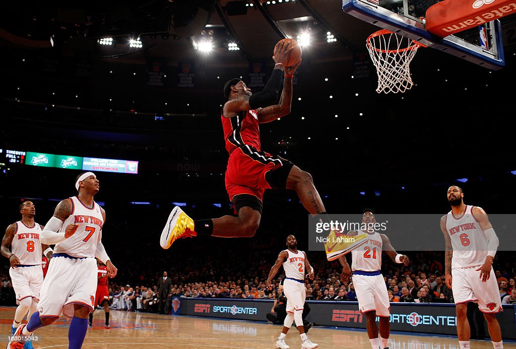 LeBron James #6 of the Miami Heat dunks the ball against the New York Knicks at Madison Square Garden on March 3, 2013 in New York City.NOTE