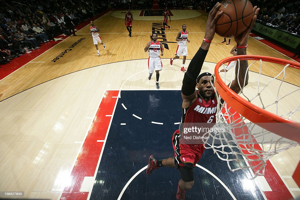 <a gi-track='captionPersonalityLinkClicked' href=/galleries/search?phrase=LeBron+James&family=editorial&specificpeople=201474 ng-click='$event.stopPropagation()'>LeBron James</a> #6 of the Miami Heat dunks the ball against the Washington Wizards at the Verizon Center on December 4, 2012 in Washington, DC.