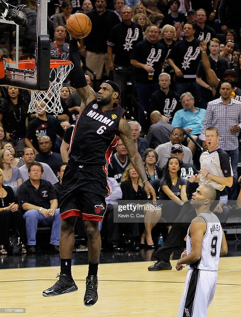 LeBron James #6 of the Miami Heat dunks the ball in front of Tony Parker #9 of the San Antonio Spurs in the second quarter during Game Five of the 2013 NBA Finals at the AT&T Center on June 16, 2013 in San Antonio, Texas.
