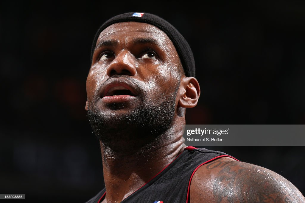 <a gi-track='captionPersonalityLinkClicked' href=/galleries/search?phrase=LeBron+James&family=editorial&specificpeople=201474 ng-click='$event.stopPropagation()'>LeBron James</a> #6 of the Miami Heat during a preseason game against the Brooklyn Nets at the Barclays Center on October 17, 2013 in the Brooklyn borough of New York City.