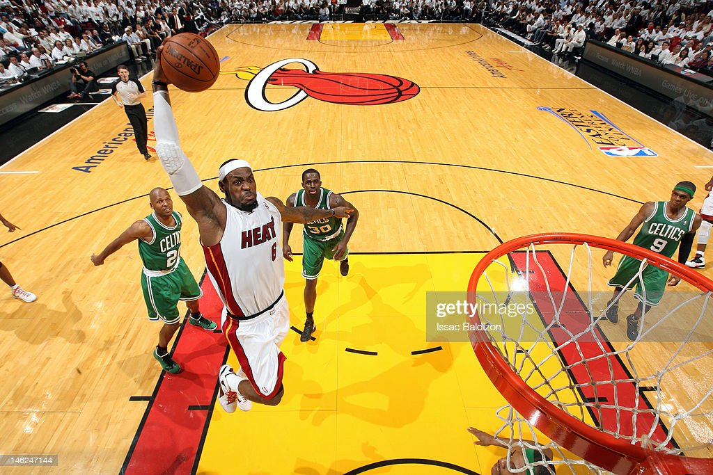 LeBron James of the Miami Heat goes in for a dunk against the Boston Celtics in Game Seven of the Eastern Conference Finals during the 2012 NBA...