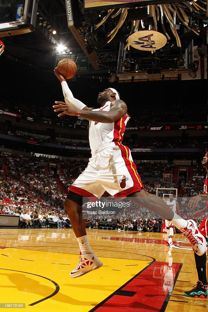 LeBron James #6 of the Miami Heat goes to the basket during a game between the Atlanta Hawks and the Miami Heat on December 10, 2012 at American Airlines Arena in Miami, Florida.